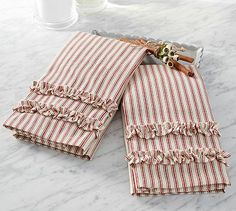 Ticking Stripe Ruffled Guest Towels Set Of 2 Potterybarn Love These In The