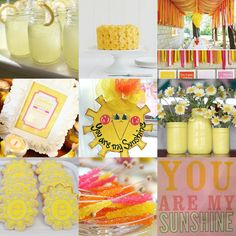 """You are my Sunshine"" themed first birthday party inspiration."