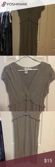 Max Studio Dress - Medium Tan colored midi-dress. Cap sleeves, v-neck with front detail. Max Studio Dresses Midi