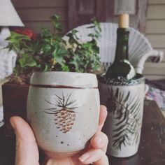 Handmade stoneware tumbler and wine crock, painted by hand with Pine Design. Pine Design, Have A Lovely Weekend, Crock, Stoneware, Tumbler, Pottery, Wine, Tableware, Handmade