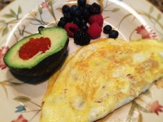 Bacon And Cheese Omelet, Avocado With Salmon Roe, And Berries: 3/23/14