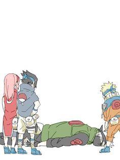 Haruno Sakura, Uchiha Sasuke, Hatake Kakashi e Uzumaki Naruto Naruto And Sasuke, Anime Naruto, Naruto Fan Art, Naruto Comic, Sarada Uchiha, Naruto Cute, Sakura And Sasuke, Naruto Shippuden Anime, Kakashi Sensei