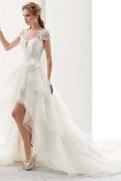 Floor-Length Scoop Split-Front Long-Sleeve Lace Wedding Dress Illusion Jewel-Neck High-Low Bridal Gown With Ruffles And T-Shirt Sleeves Tulle Wedding Gown, Elegant Wedding Gowns, Western Wedding Dresses, White Wedding Dresses, Bridal Dresses, Hi Low Wedding Dress, Lace Wedding, Chic Wedding, Wedding Ideas