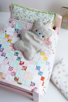 cuteness in a quilt - love the 2 solids that organize the patchwork Small Quilts, Mini Quilts, Baby Quilts, Softies, Stuffed Animals, Quilting Projects, Sewing Projects, Dollhouse Quilt, Quilt Bedding