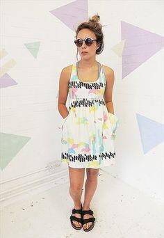 80's Neon shell suit creased nylon Mini Dress