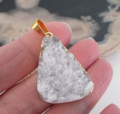 White Gold Druzy Pendant  Crystal Druzy Geode  Gold by BijiBijoux