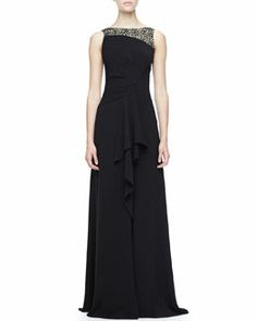 T74GM Halston Heritage Lace-Top Jersey Gown