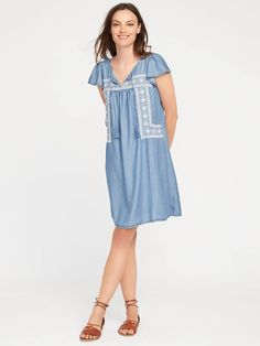 Embroidered Tencel™ Swing Dress for Women  | Old Navy