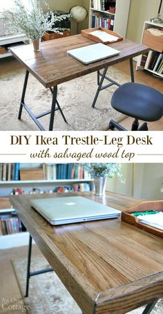 How to make a desk with Ikea trestle legs and salvaged wood top.