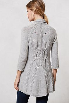 Cardigans are ever-necessary, and this gray, knitted cotton sweater from Anthropologie looks chic and fantastically cozy. Sweater Coats, Sweater Outfits, Knit Cardigan, Cute Outfits, Brown Cardigan, Cable Sweater, Cardigan Pattern, Long Cardigan, Cable Knit