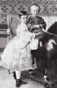 Grand Duchess Maria Alexandrovna Romanova of Russia with brother Grand Duke Sergei Alexandrovich Romanov of Russia as children.A♥W