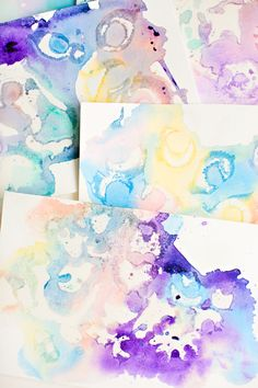 marbled watercolor and oil painting - fun art project for kids, then you can make them into notecards and gift tags