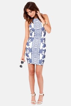 Porcelain Doll Blue and White Print Halter Dress Get 7% Cash Back http://www.studentrate.com/itp/get-itp-student-deals/lulu-s-Student-Discount--/0