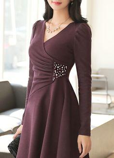 Korean Women`s Fashion Shopping Mall, Styleonme. Muslim Fashion, Modest Fashion, Fashion Dresses, Women's Fashion, Women's Dresses, Dress Outfits, Evening Dresses, Elegant Outfit, Classy Dress