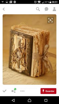 Saimba altered book Inspiration making an old letter, postcard book ***I like the ribbon. Handmade Journals, Handmade Books, Handmade Crafts, Handmade Rugs, Handmade Notebook, Junk Journal, Journal Ideas, Bullet Journal, Fabric Journals