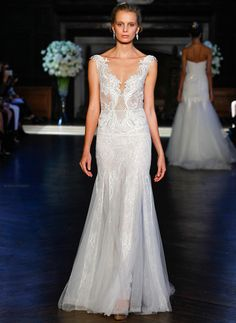 Alon Livne Fall 2016 lace V-Neckline and netting bodice with trumpet silhouette wedding dress   https://www.theknot.com/content/alon-livne-wedding-dresses-bridal-fashion-week-fall-2016