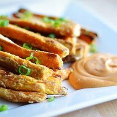 Sweet Potato Oven Fries with Sriracha Mayo Dip