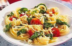 Kitchen-love: Spaghetti mit Spinat und Schafskäse