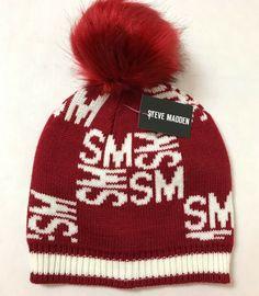 d970af3b401333 new womens STEVE MADDEN POM BEANIE dark red/white SM pattern winter knit  ski hat