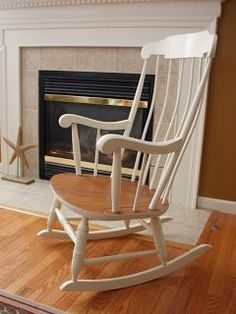 The Black Sheep Shoppe: Vintage Rocking Chair (Annie Sloan Chalk Paint Old White and General Finishes Prairie Wheat).