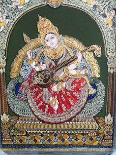 Sarasvati, Goddess Of Learning Mysore Painting, Madhubani Painting, Mural Painting, Silk Painting, Saraswati Picture, Saraswati Painting, Apocalypse Art, Indian Folk Art, Indian Art Paintings