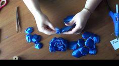 Passo a passo em Vídeo de mais uma Flor com Fita de Cetim Azul