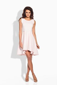 Fancy Powder Pink Dipped Hem Coctail Dress LAVELIQ (Made in Poland)