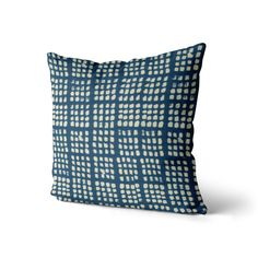 Blue Ikat Pillow Cover // Blue and White // Indigo Pillow   Etsy Pillow Room, Living Room Pillows, Ikat Pillows, Designer Throw Pillows, All Covers, Beautiful Cover, Cover Size, Fabric Samples, Throw Pillow Covers