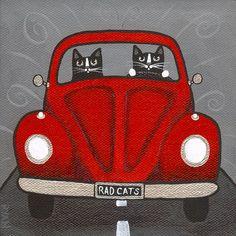 "Rad Cats ~ Red VW Bug Original Cat folk art painting"" by KilkennycatArt"