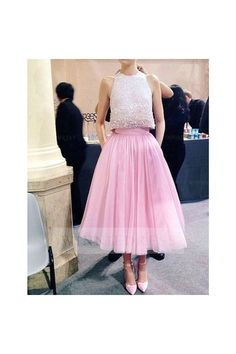 Sparkly Sequined A-line High Neck Candy Pink Tulle Skirt Ankle Length Two Piece Prom Cocktail Party Dress WNHD0748