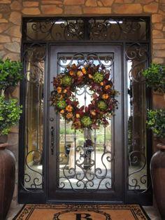 New Front Door Design Grand Entrance Wrought Iron Ideas Decor, Iron Doors, Christmas Entryway, Front Door Christmas Decorations, Entryway Decor, Entry Doors, Beautiful Doors, Tuscan Decorating, Front Door Design