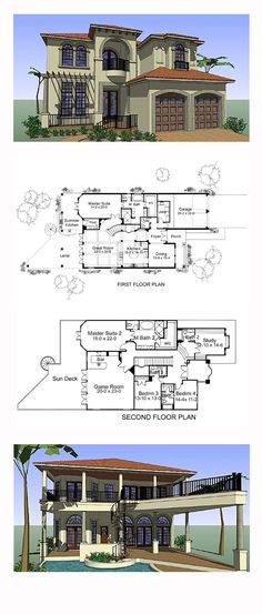 Italian House Plan 75131 | Total Living Area: 4802 sq. ft., 4 bedrooms, 5 full bathrooms and 2 half baths. #italianhome