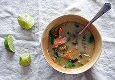 Try This: Coconut Milk Soup with Wild Salmon, Winter Squash, and Kale