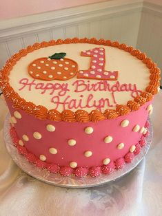 First Birthday Cake with Pumpkin and Polka Dots by www.sweetpeacakestudio.com