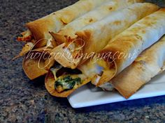 Baked chicken and spinach flauta's. #healthy #dinner #maindish #flautas #taquitos #chicken