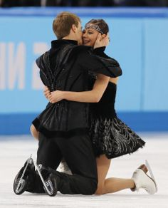 Elena Ilinykh and Nikita Katsalapov--She was crying after their performance and he hugged her and kissed her. So cute!!!!