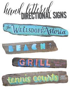 Lettering with makewells: hand lettered directional signs | alisaburke | Bloglovin'