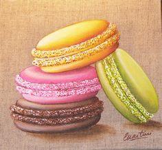 Tableau 4 macarons colonne : Peintures par catherine-martini