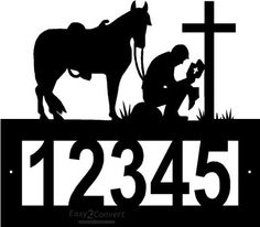 """Custom Steel Praying Cowboy address sign by Designs Of Steel. $29.99. Overall sign is apprx 12"""" x 12"""". Numbers are apprx 3"""" tall.. Number frame has two pre-drilled mounting holes, mounting hardware is not included.. Customized with your house number, 5 digit spaces available.. Each sign is made to order. Please allow approximately 2-3 weeks to craft before shipping.. Custom crafted from 1/8"""" hot roll steel with a black texture powdercoated finish.. FREE SHIPPING in t..."""
