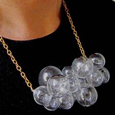 Glamorous Glass by Petra Glasova: Share my fascination with dreamy bubble glass jewellery. Clear glass bubble jewellery set containing a necklace, a bracelet and earrings. Glass Necklace, Glass Jewelry, Jewelry Sets, Jewellery, Types Of Earrings, How To Make Shorts, Necklace Designs, Petra, Gold Chains