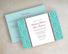 Victorian wedding invitations, damask wedding invitations, vintage wedding invites, tiffany blue, teal, turquoise, aqua, red, white, Miriam