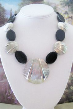Black Onyx and Silver Necklace  B2 by dkdesigns8238 on Etsy, $25.00