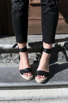 Loeffler Randall | espadrille wedge with black leather straps