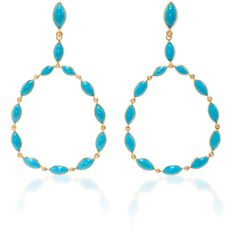Carla Amorim Yellow Gold and Turquoise Drop Hoop Earrings (35.963.990 IDR) ❤ liked on Polyvore featuring jewelry, earrings, blue, turquoise gold earrings, hoop earrings, gold earrings, turquoise hoop earrings and blue turquoise jewelry