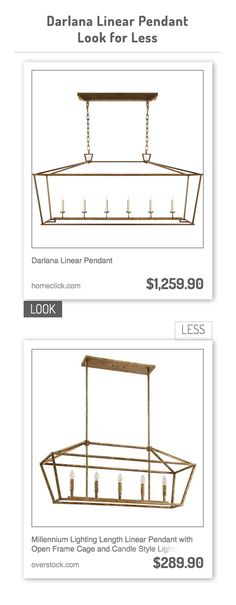 Darlana Linear Pendant vs Millennium Lighting Length Linear Pendant with Open Frame Cage and Candle Style Lights