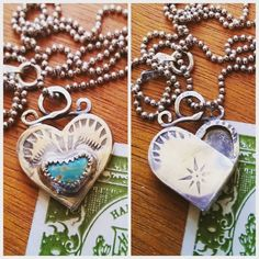 Sterling Turquoise Heart Pendant Necklace w/ Stamped North Star Design and Tiny Hollow Secret Message Pocket by NorthStarArtisan on Etsy