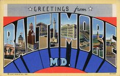 Greetings from Baltimore, Maryland - Large Letter Postcard ...