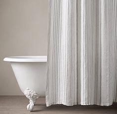 Italian Stripe Jacquard Linen Shower Curtain