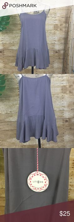 """Umgee Pale Gray/Purple Top Umgee Pale Gray/Purple Top with spaghetti straps and extender flowy hem.   Approx. measurements:         Chest: 18"""" (flat lay - arm pit to arm pit) Material:        65% Cotton        35% Polyester Umgee Tops"""
