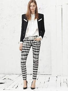 Street Style Black And White Enjoyment....use leather inserts with stripes....stripes going different ways...micra fiber and leather...etcetcetc